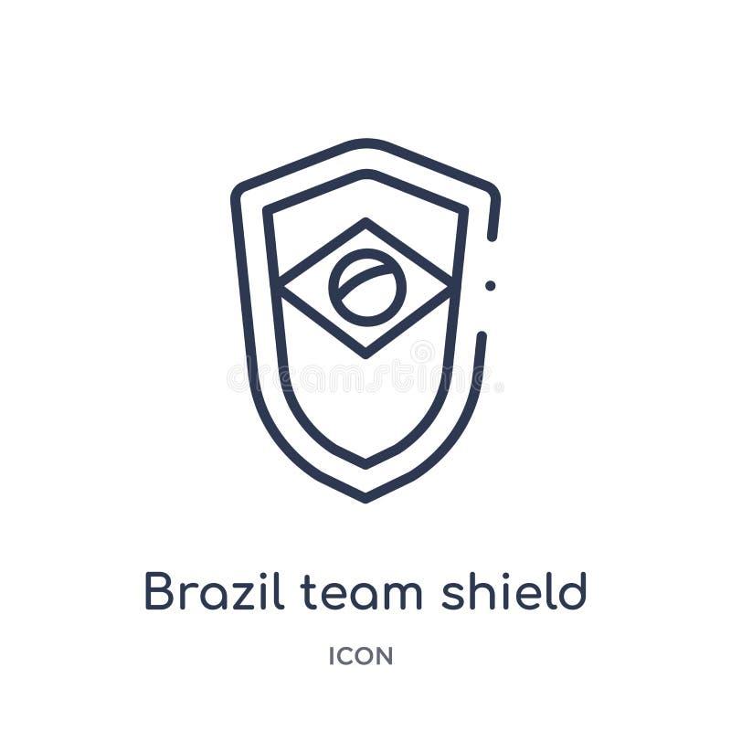 Linjär symbol för Brasilien lagsköld från kulturöversiktssamling Tunn linje vektor för Brasilien lagsköld som isoleras på vit bak royaltyfri illustrationer