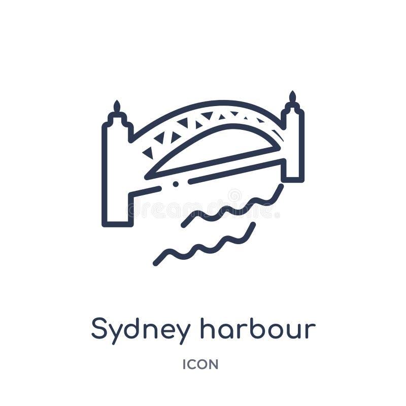 Linjär symbol för bro för sydney hamn från kulturöversiktssamling Tunn linje vektor för bro för sydney hamn som isoleras på vit royaltyfri illustrationer