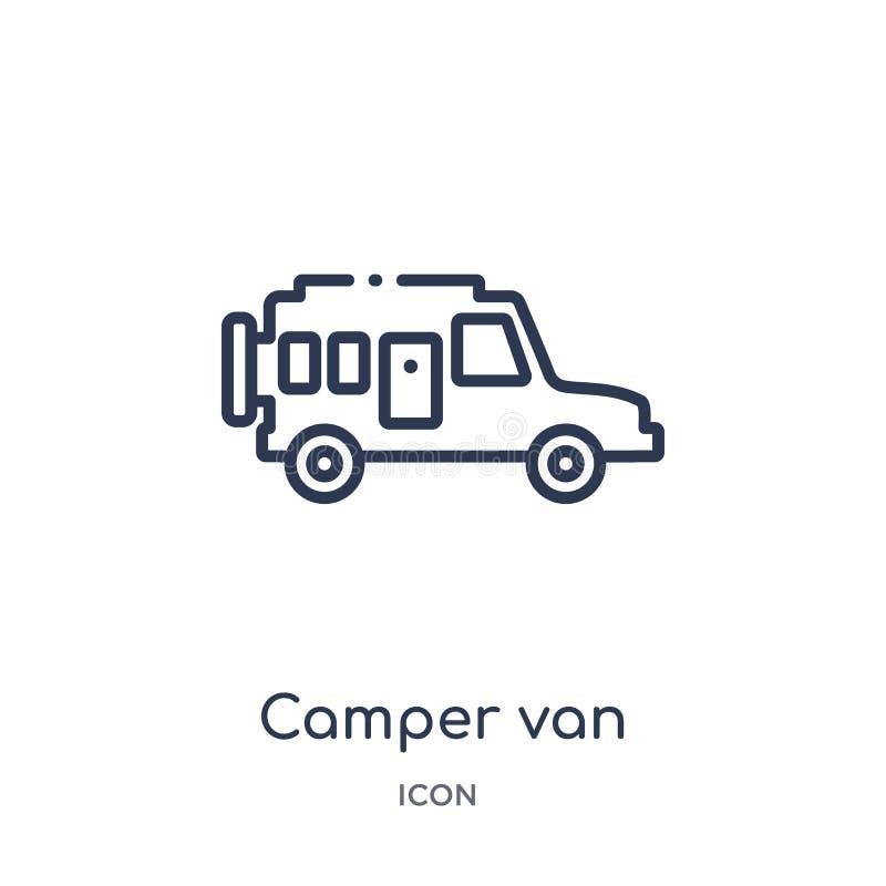 Linjär symbol för campareskåpbil från campa översiktssamling Tunn linje vektor för campareskåpbil som isoleras på vit bakgrund Ca stock illustrationer