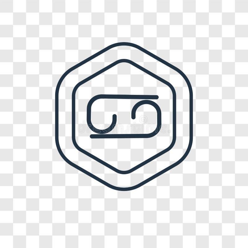 Linjär symbol för cancerbegreppsvektor som isoleras på genomskinlig backgr royaltyfri illustrationer