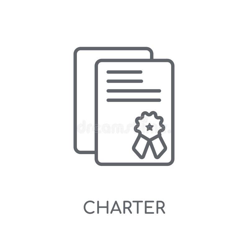 Linjär symbol för charter Modernt begrepp för översiktscharterlogo på whit stock illustrationer