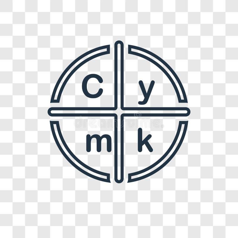 Linjär symbol för Cmyk begreppsvektor på genomskinlig backgrou royaltyfri illustrationer