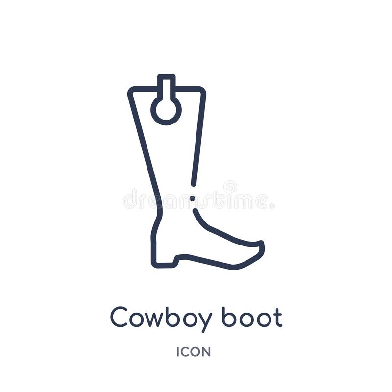 Linjär symbol för cowboykänga från ökenöversiktssamling Tunn linje vektor för cowboykänga som isoleras på vit bakgrund Vektorsymb stock illustrationer