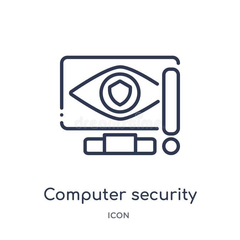 Linjär symbol för datorsäkerhet från säkerhet och att knyta kontakt för internet översiktssamlingen Den tunna linjen symbol för d royaltyfri illustrationer
