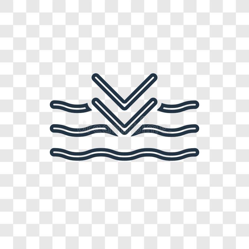Linjär symbol för djup begreppsvektor som isoleras på genomskinlig backgrou royaltyfri illustrationer