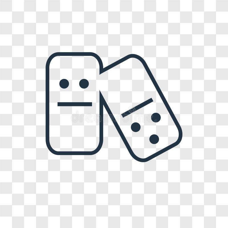 Linjär symbol för dominobrickabegreppsvektor som isoleras på genomskinlig backgr vektor illustrationer