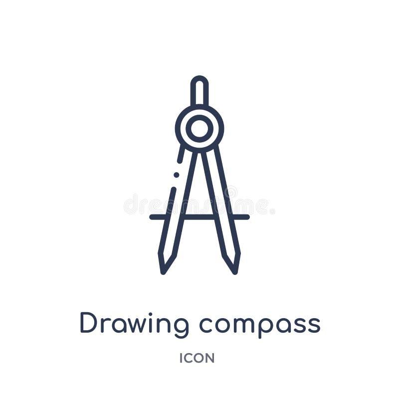 Linjär symbol för dra kompass från konstruktionsöversiktssamling Tunn linje vektor för teckningskompass som isoleras på vit bakgr stock illustrationer