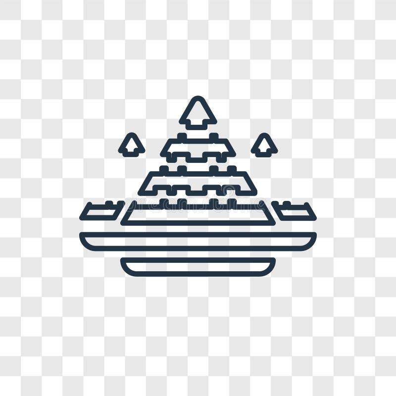 Linjär symbol för Egypten begreppsvektor som isoleras på genomskinlig backgro vektor illustrationer