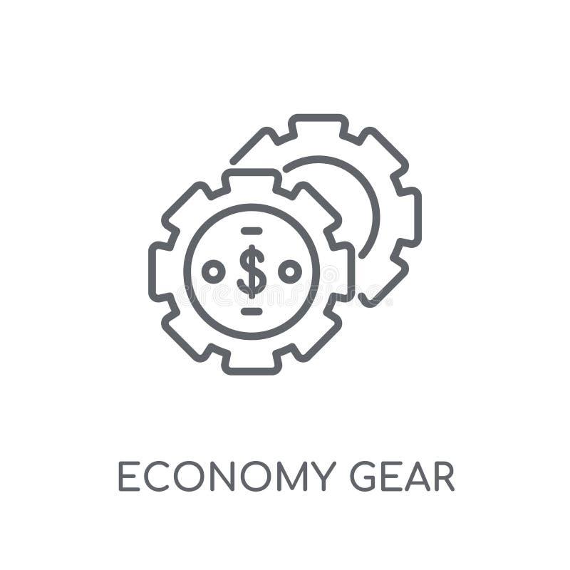 linjär symbol för ekonomikugghjul Modern conce för logo för översiktsekonomikugghjul vektor illustrationer