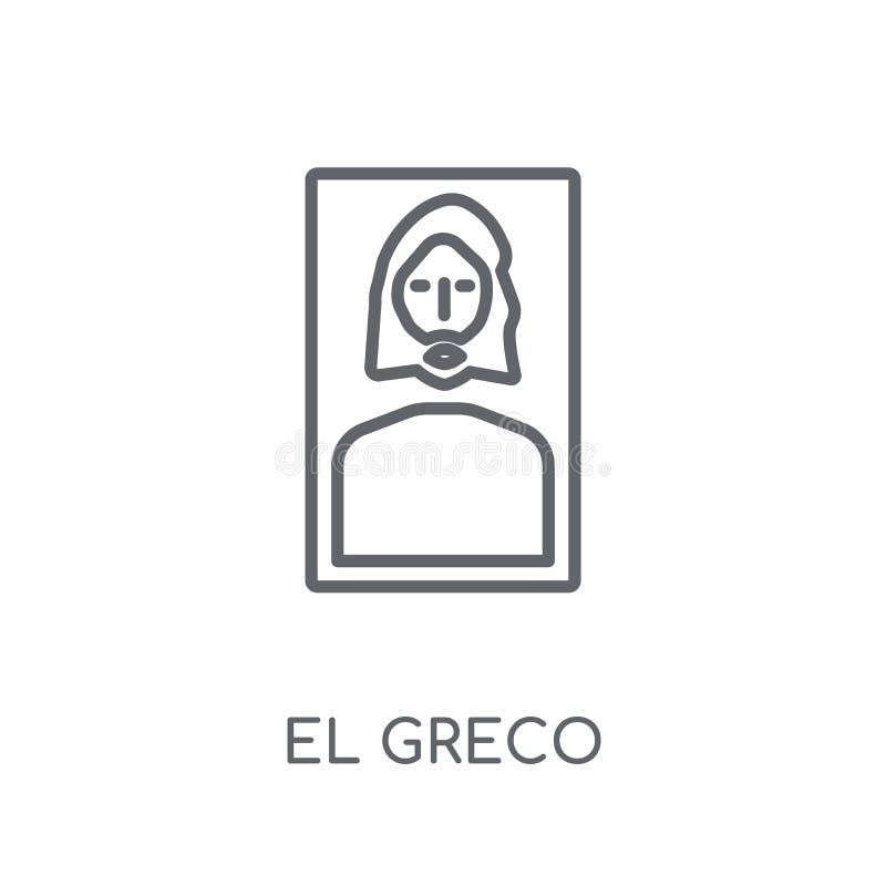 Linjär symbol för El-greco Modernt begrepp för logo för översiktsEl-greco på wh royaltyfri illustrationer