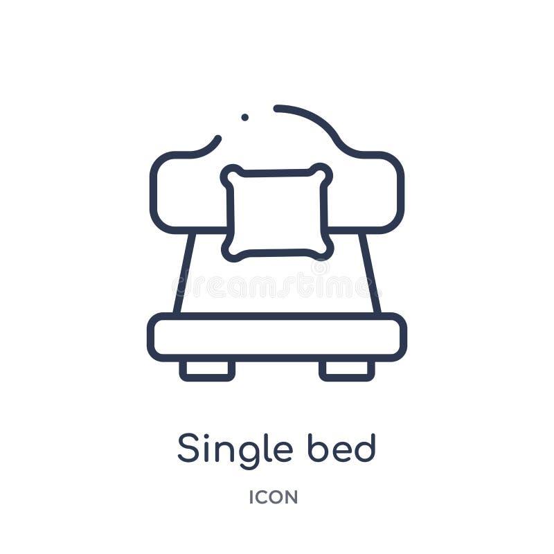Linjär symbol för enkel säng från hotell- och restaurangöversiktssamling Tunn linje symbol för enkel säng som isoleras på vit bak royaltyfri illustrationer