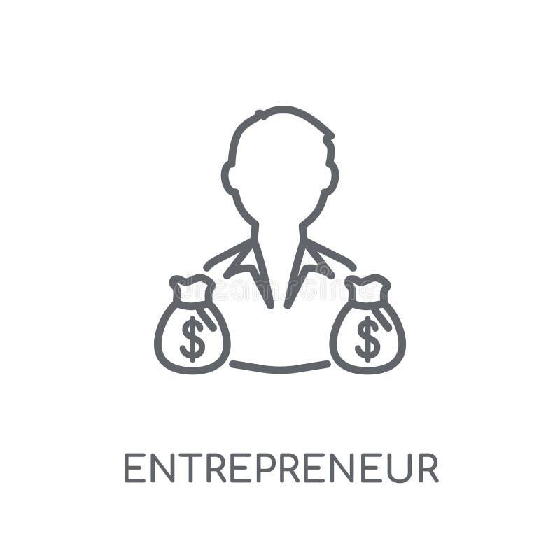 Linjär symbol för entreprenör Modern conce för översiktsentreprenörlogo stock illustrationer