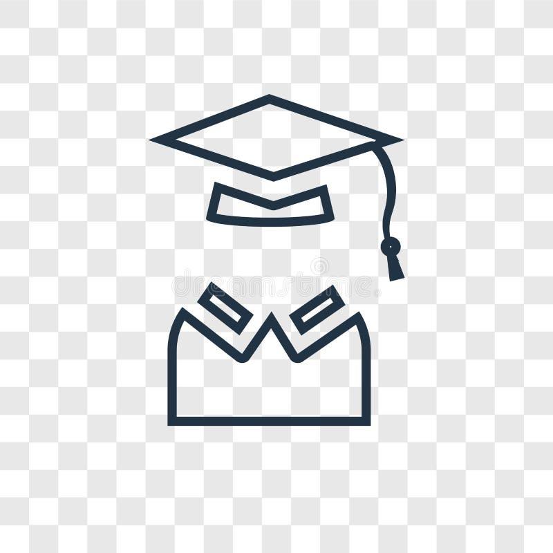 Linjär symbol för examenbegreppsvektor på genomskinlig backgrou stock illustrationer