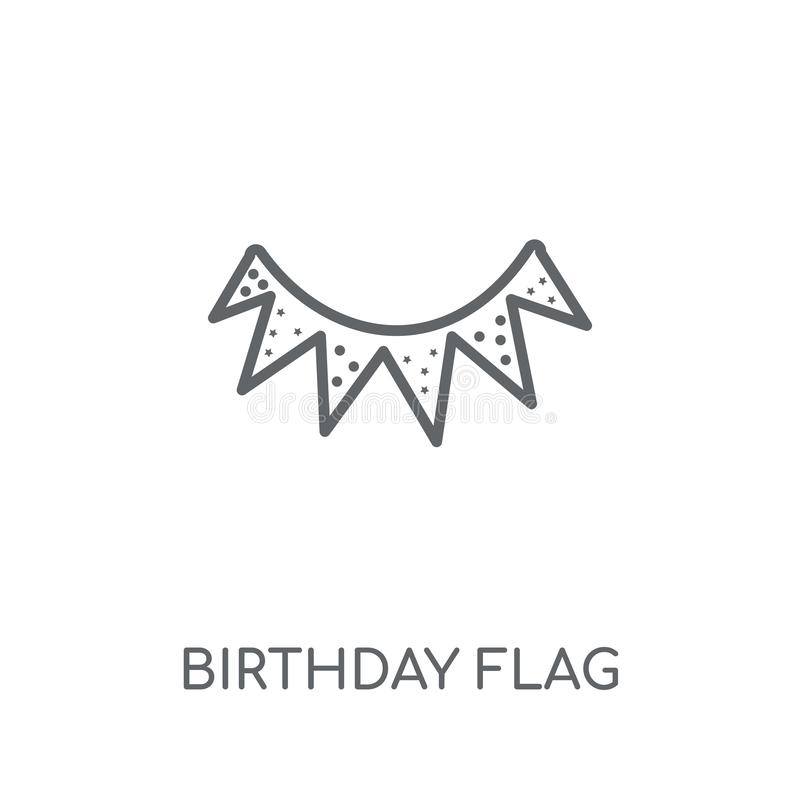 Linjär symbol för födelsedagflagga Den moderna logoen för översiktsfödelsedagflaggan lurar royaltyfri illustrationer