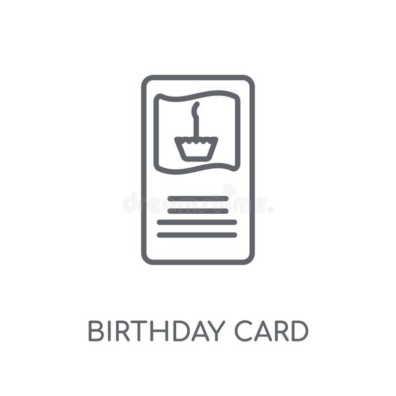 Linjär symbol för födelsedagkort Den moderna logoen för översiktsfödelsedagkortet lurar royaltyfri illustrationer
