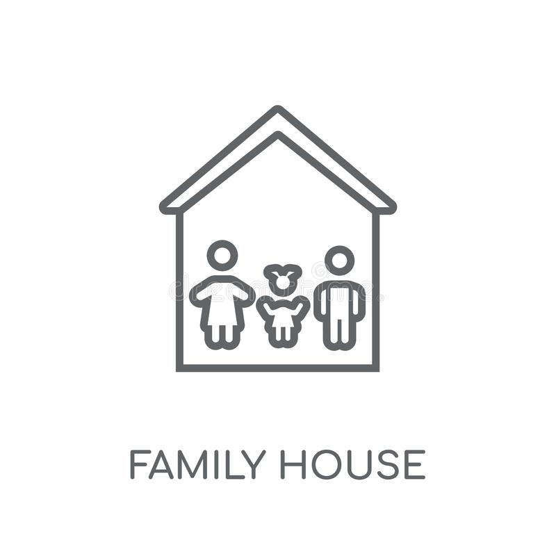 Linjär symbol för familjhus Modern conce för logo för översiktsfamiljhus vektor illustrationer
