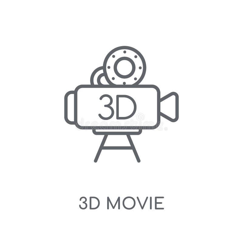 linjär symbol för film 3D Modernt för filmlogo för översikt 3D begrepp på wh vektor illustrationer