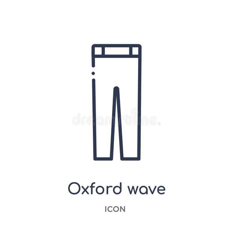 Linjär symbol för flåsanden för oxford vågdräkt från kläderöversiktssamling Tunn linje vektor för flåsanden för oxford vågdräkt s stock illustrationer