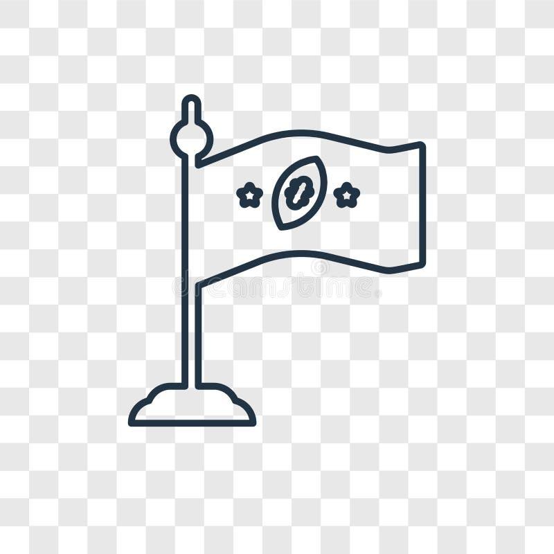 Linjär symbol för flaggabegreppsvektor som isoleras på genomskinlig backgrou stock illustrationer