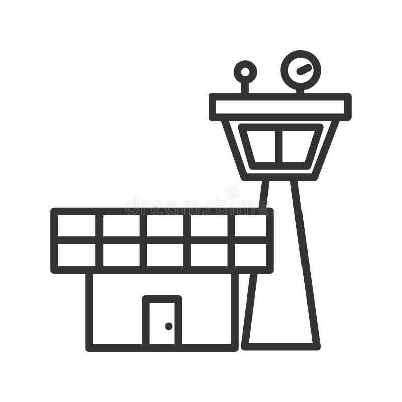 Linjär symbol för flygkontrolltorn Tunn linje illustration Vektor isolerad översiktsteckning stock illustrationer