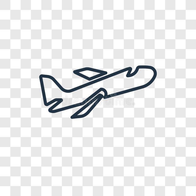 Linjär symbol för flygpostbegreppsvektor som isoleras på genomskinlig baksida royaltyfri illustrationer