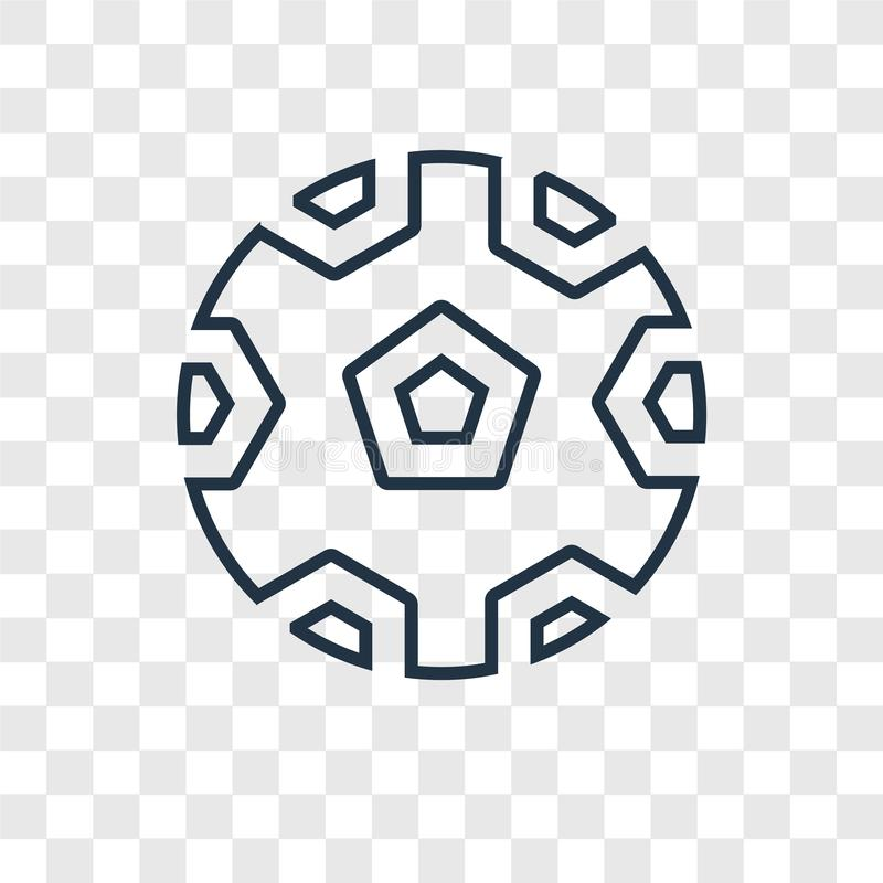 Linjär symbol för fotbollbegreppsvektor på genomskinlig backgr stock illustrationer