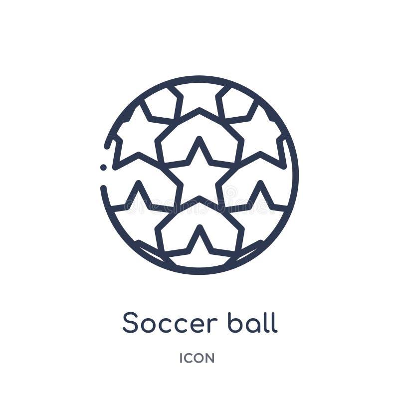 Linjär symbol för fotbollboll från fotbollöversiktssamling Tunn linje vektor för fotbollboll som isoleras på vit bakgrund fotboll stock illustrationer
