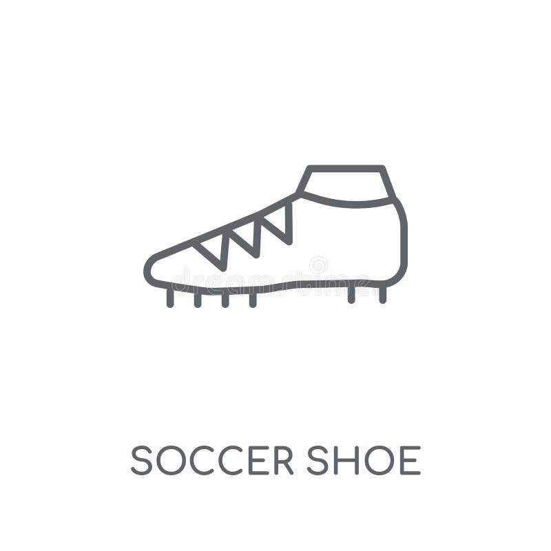 Linjär symbol för fotbollsko Modernt begrepp för logo för översiktsfotbollsko royaltyfri illustrationer