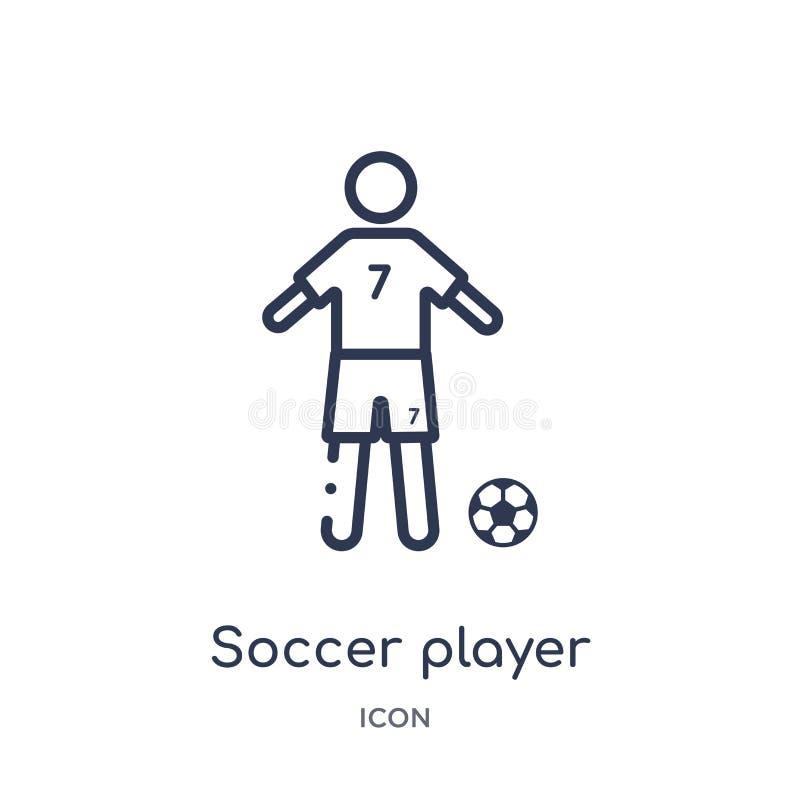 Linjär symbol för fotbollspelare från fotbollöversiktssamling Tunn linje vektor för fotbollspelare som isoleras på vit bakgrund f royaltyfri illustrationer