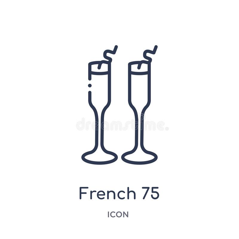 Linjär symbol för fransman 75 från drinköversiktssamling Tunn linje vektor för fransman som 75 isoleras på vit bakgrund moderikti royaltyfri illustrationer