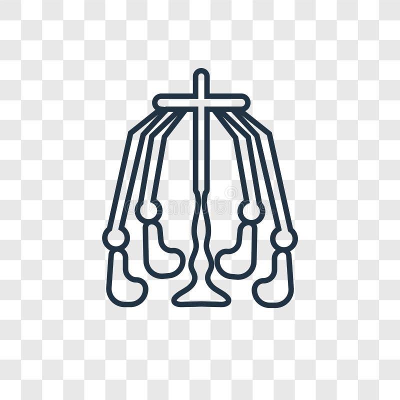 Linjär symbol för fritt fallbegreppsvektor som isoleras på genomskinlig bac stock illustrationer