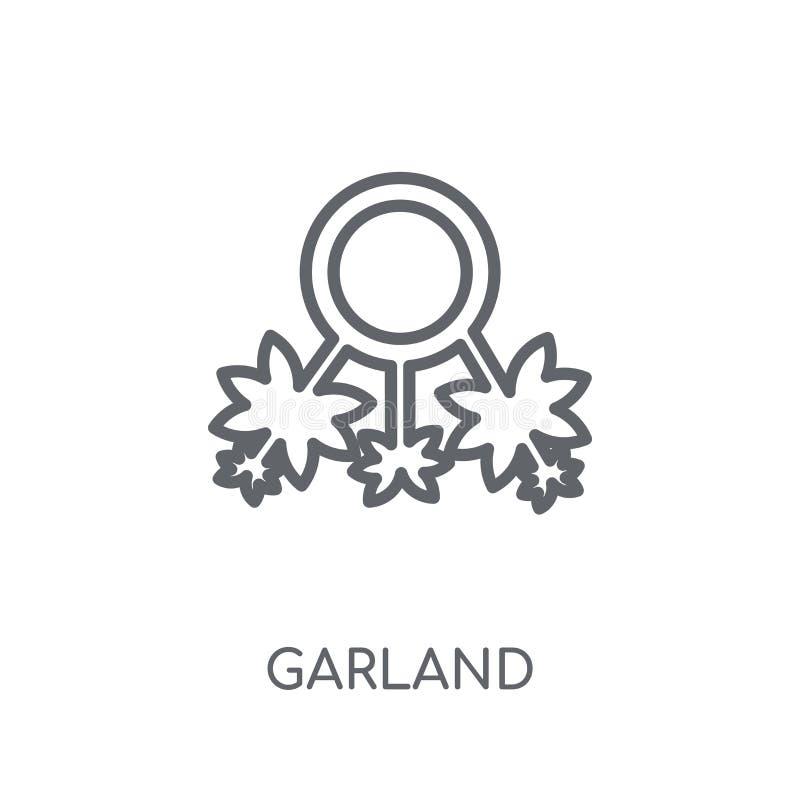 Linjär symbol för girland Modernt begrepp för översiktsgirlandlogo på whit vektor illustrationer