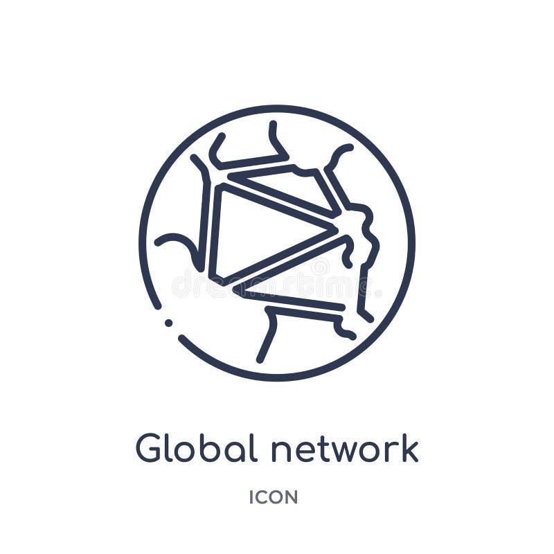 Linjär symbol för globalt nätverk från säkerhet och att knyta kontakt för internet översiktssamlingen Tunn linje symbol för globa vektor illustrationer
