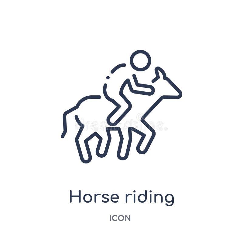 Linjär symbol för hästridning från aktivitet och hobbyöversiktssamling Tunn linje vektor för hästridning som isoleras på vit bakg stock illustrationer