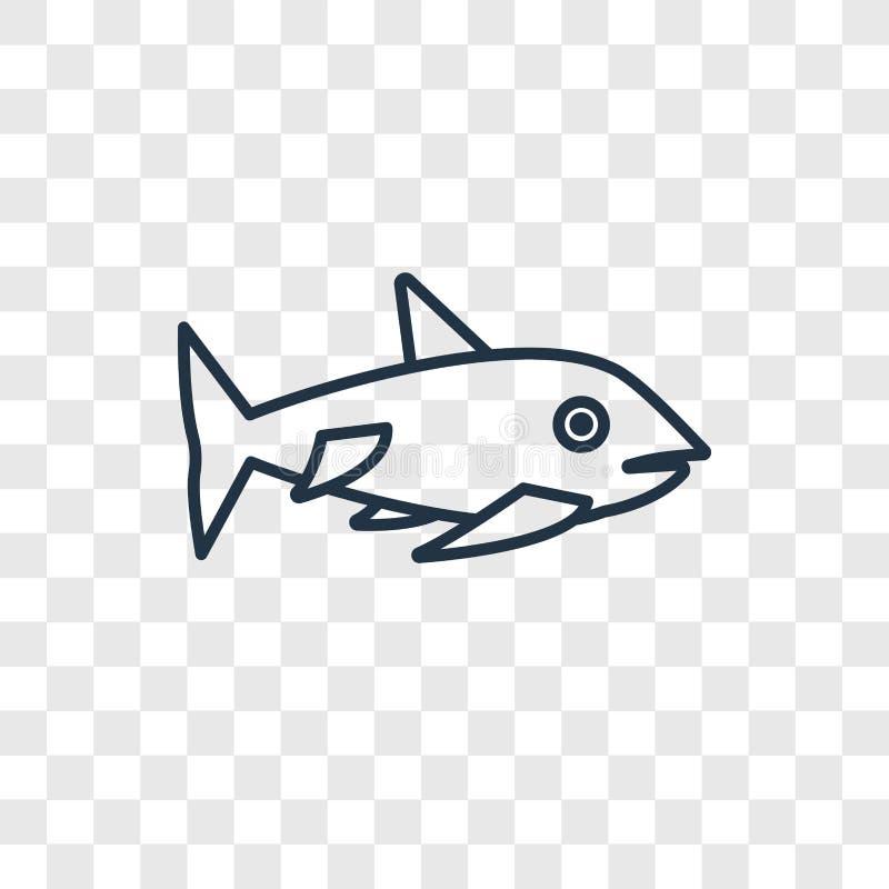 Linjär symbol för hajbegreppsvektor som isoleras på genomskinlig backgro royaltyfri illustrationer