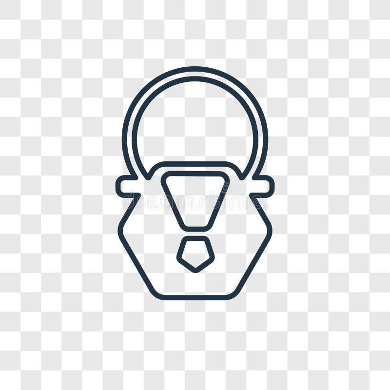 Linjär symbol för handväskabegreppsvektor som isoleras på genomskinlig backg stock illustrationer