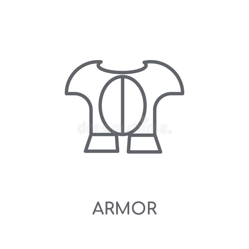 Linjär symbol för harnesk Modernt begrepp för översiktsharnesklogo på vita lodisar stock illustrationer