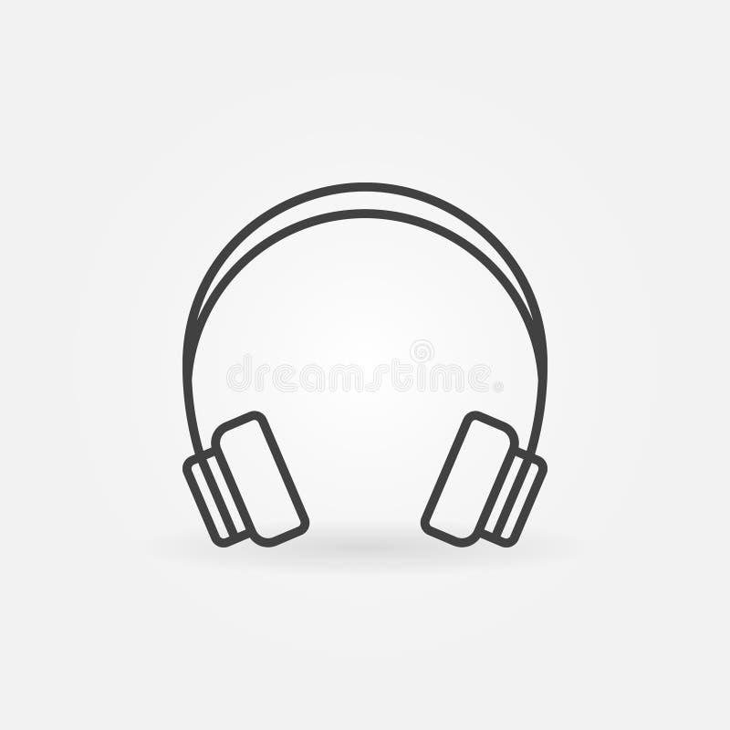 Linjär symbol för Headphone royaltyfri illustrationer