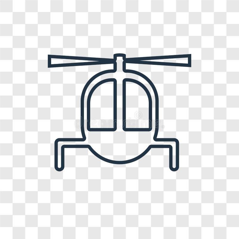 Linjär symbol för helikopterbegreppsvektor som isoleras på genomskinliga lodisar stock illustrationer