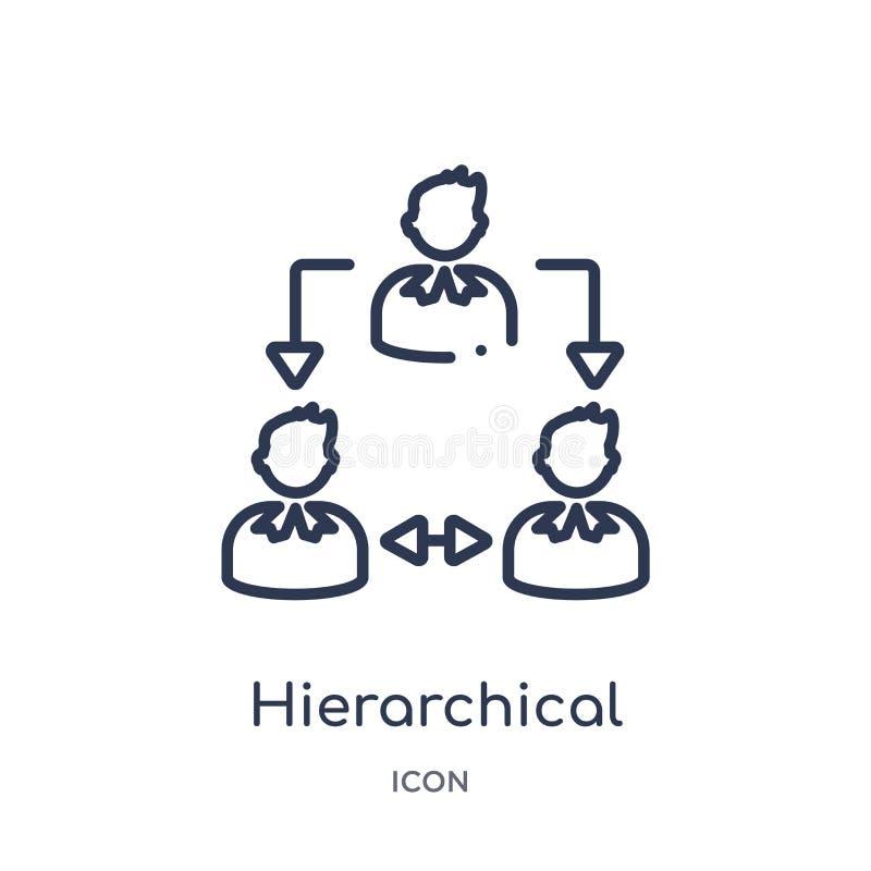 Linjär symbol för hierarkisk struktur från samling för Digital ekonomiöversikt Tunn linje vektor för hierarkisk struktur som isol stock illustrationer