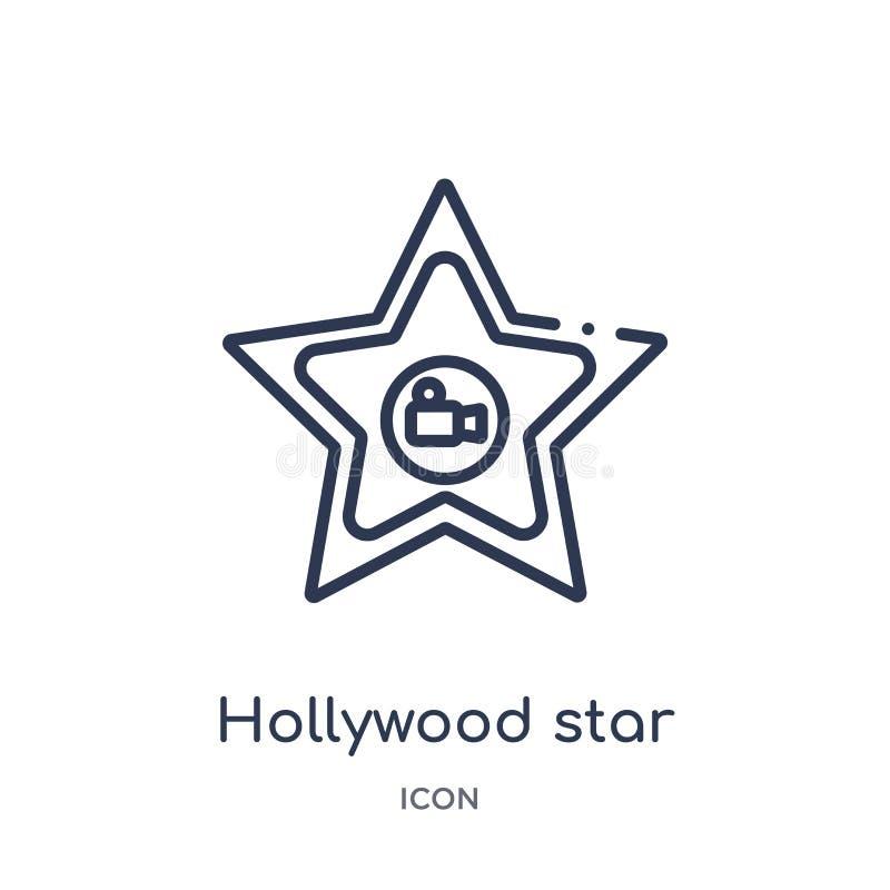 Linjär symbol för hollywood stjärna från bioöversiktssamling Tunn linje vektor för hollywood stjärna som isoleras på vit bakgrund vektor illustrationer