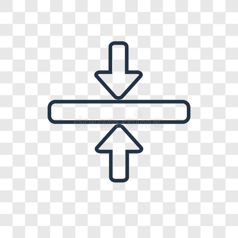 Linjär symbol för horisontalsammanfogningbegreppsvektor som isoleras på transpar royaltyfri illustrationer