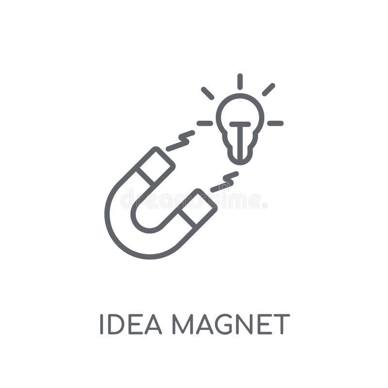 linjär symbol för idémagnet Modernt begrepp för logo för översiktsidémagnet royaltyfri illustrationer