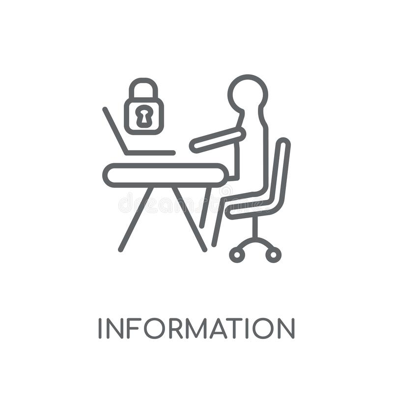 Linjär symbol för informationssäkerhetsanalytiker Modern översikt Informa stock illustrationer