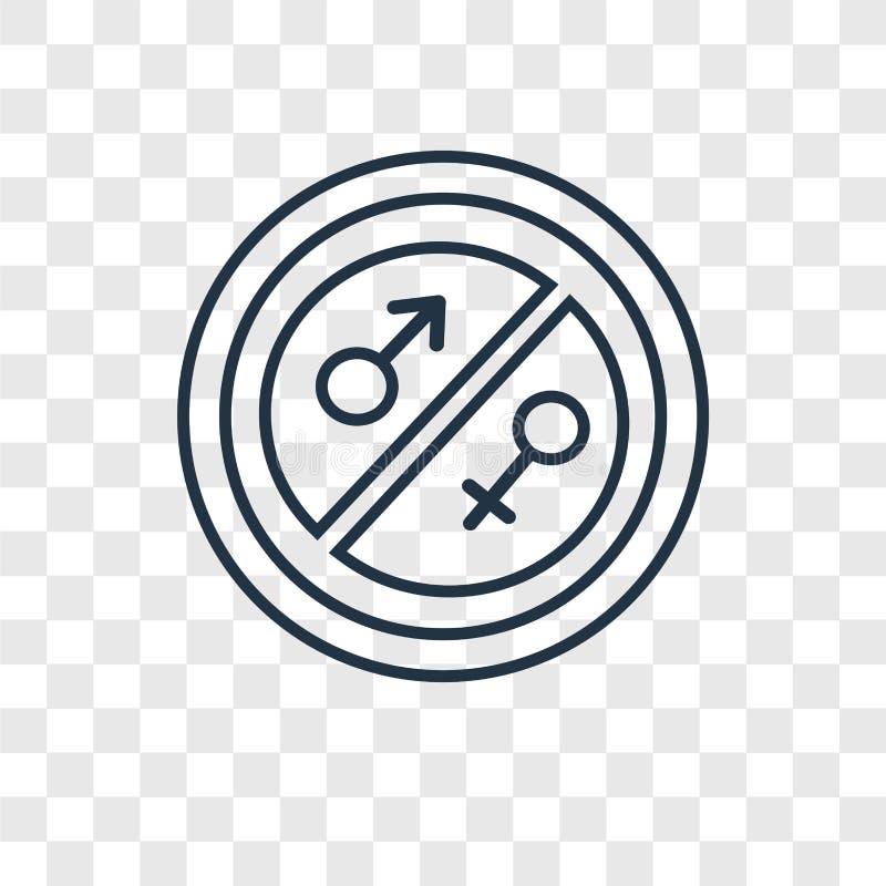 Linjär symbol för jämställdhetbegreppsvektor som isoleras på genomskinlig baksida royaltyfri illustrationer