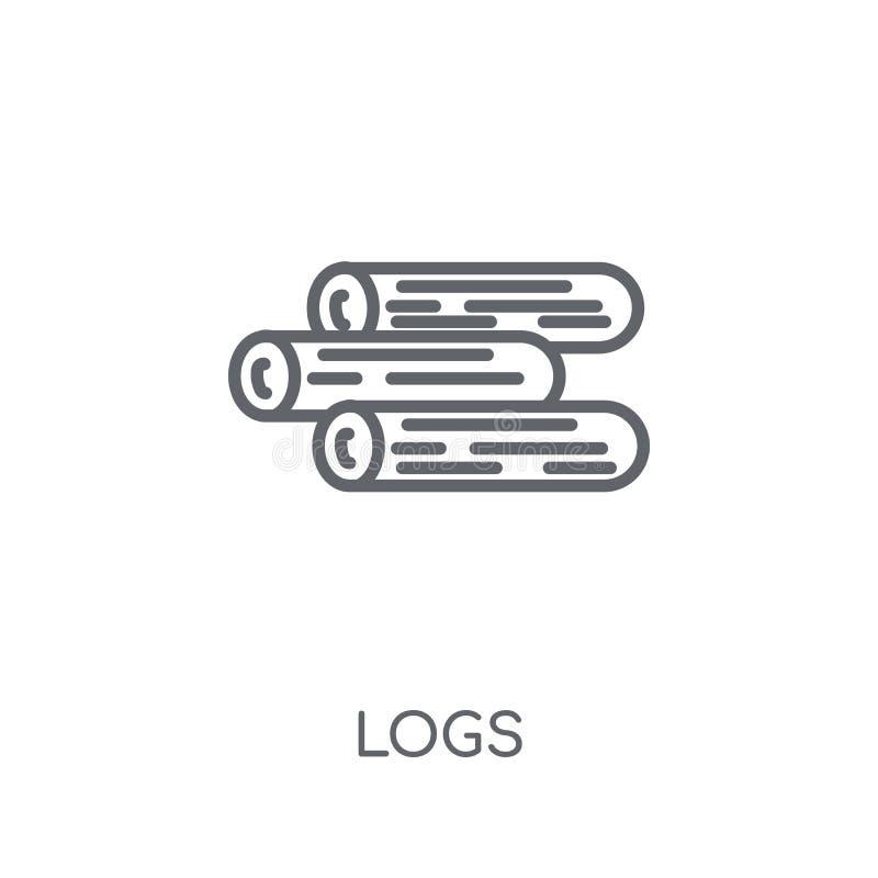 Linjär symbol för journaler Den moderna översikten loggar logobegrepp på vit baksida stock illustrationer
