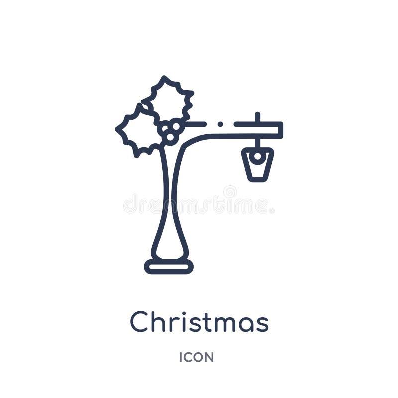 Linjär symbol för julgataljus från julöversiktssamling Tunn linje vektor för julgataljus som isoleras på vit royaltyfri illustrationer