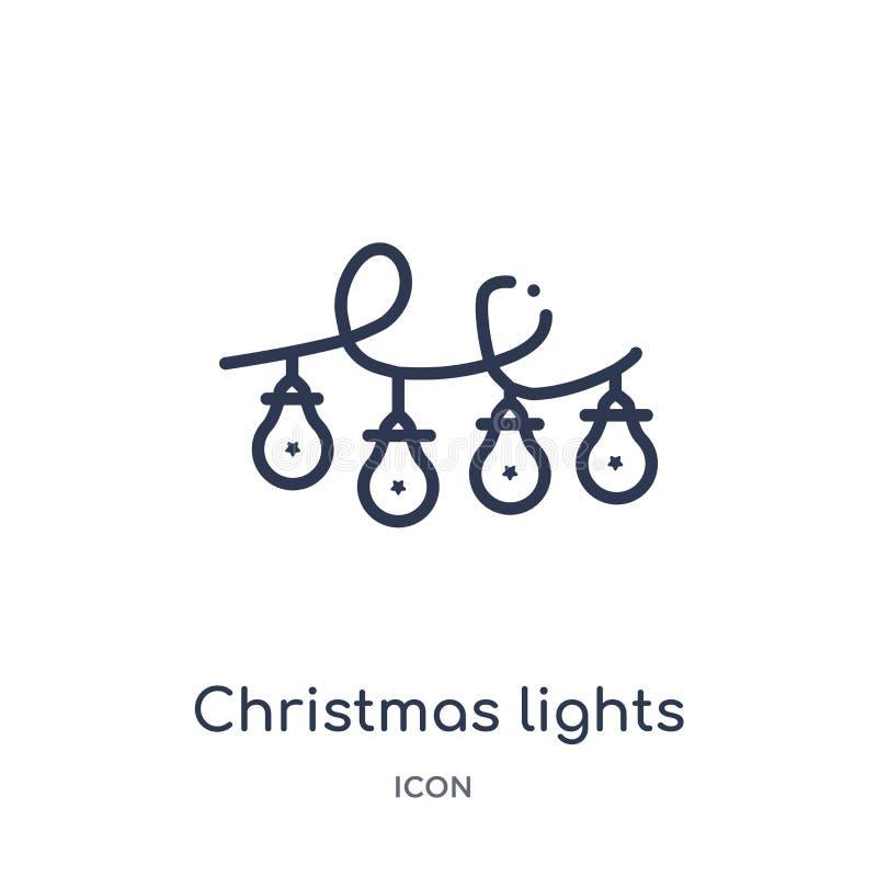 Linjär symbol för julljus från julöversiktssamling Tunn linje vektor för julljus som isoleras på vit bakgrund stock illustrationer