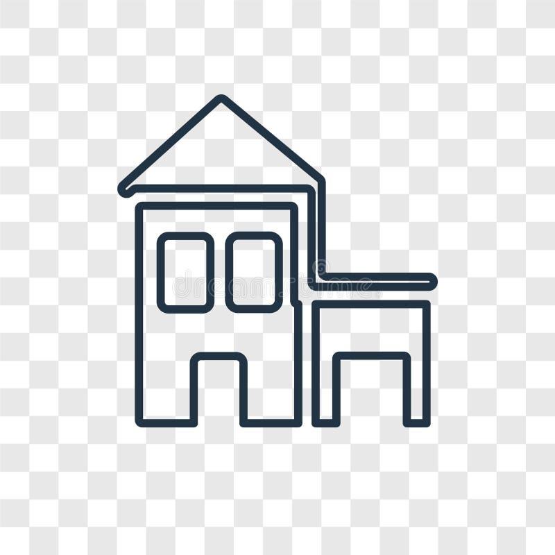 Linjär symbol för kabinbegreppsvektor som isoleras på genomskinlig backgro vektor illustrationer