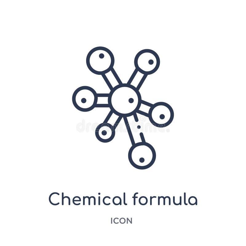 Linjär symbol för kemisk formel från utbildningsöversiktssamling Tunn linje symbol för kemisk formel som isoleras på vit bakgrund vektor illustrationer